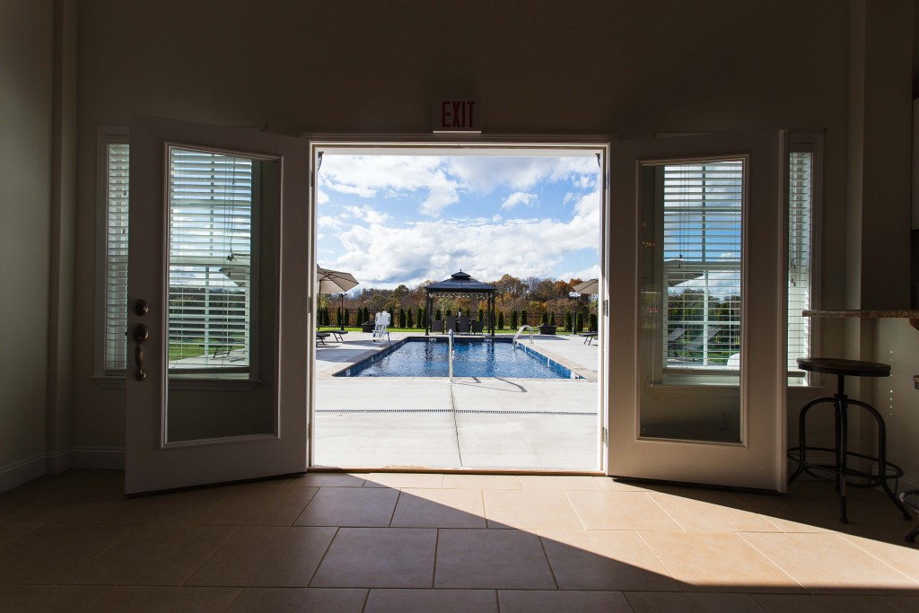 The River Club: View of pool from inside the clubhouse